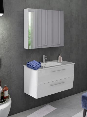 Set 2 piese mobilier pentru baie, alb, 90 cm