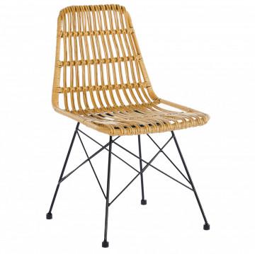 Set 2 scaune cu aspect de ratan maro