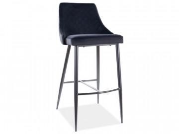 Set 2 scaune de bar din catifea Piano negre 75 x 47 x 42 cm