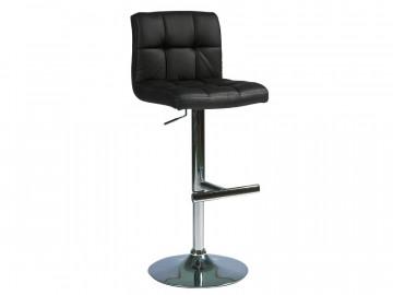 Set 2 scaune de bar din piele ecologica cu cadru metalic negru /argintiu
