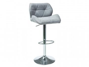 Set 2 scaune de bar tapitate reglabile 62-82 cm gri