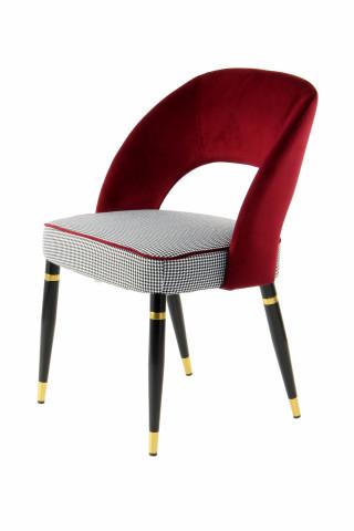 Set 2 scaune tapitate Courtney rosu/auriu