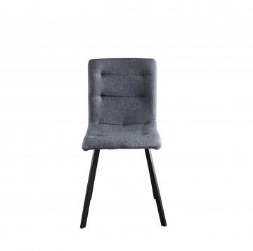Set 2 scaune tapitate cu cadru din otel gri deschis