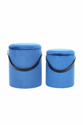 Set 2 tabureti tapitati cu spatiu pentru depozitare Arabella albastri inchis