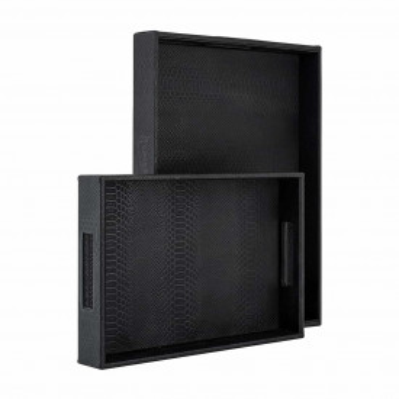 Set 2 tavi patrate pentru servire Blane, negru croc, 38.5x25.5x5.5/46x34x5.5 cm
