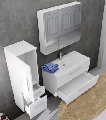 Set 3 piese mobilier pentru baie, alb, 90 cm