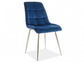 Set 4 scaune din catifea Chic albastru/crom