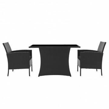 Set masa cu 2 scaune din poliratan pentru gradina negre