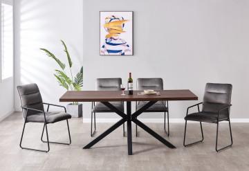 Set masa din MDF cu 4 scaune din catifea 52x66x88 cm/180x90x76 cm maro/gri