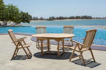 Set masa ovala cu 4 scaune pentru gradina din lemn de tec