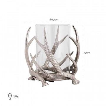 Suport lumanare din sticla Macy, argintiu