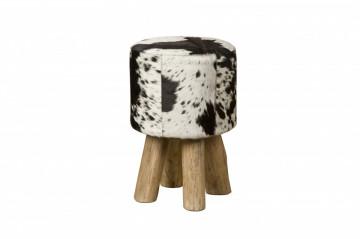 Taburet cilindric din piele de vaca Cowhide alb/negru