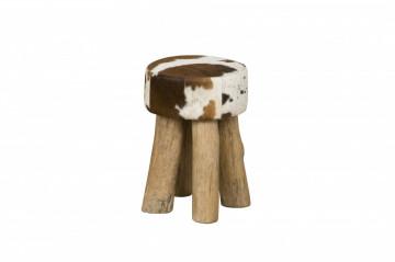 Taburet rotund din piele de vaca Cowhide maro/alb