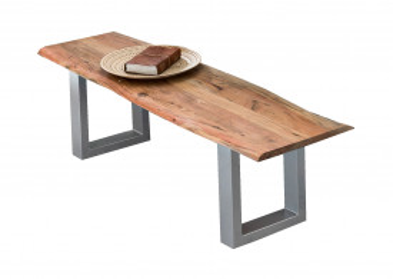 Bancheta Tables & Benches din lemn de salcâm cu bazā argint antic