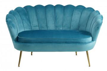 Canapea din catifea Shell albastra, 2 locuri