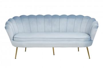 Canapea din catifea Shell gri, 3 locuri