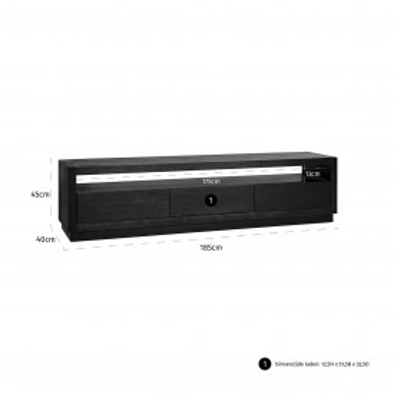 Comoda Tv din stejar Oakura 185 cm