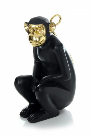 Decoratiune Monkey, negru / auriu