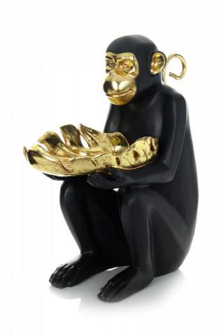 Decoratiune Sitting Monkey, auriu/negru