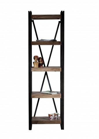 etajera din lemn de salcam si fier Panama 60 x 40 x 200 cm