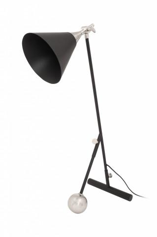 Lampa de birou din fier/alama/aluminiu Celeste, negru/argintiu, un bec