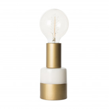Lampa decorativa din marmura/fier Lalande alba, un bec