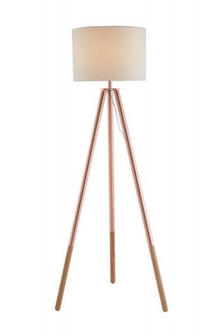 Lampadar din lemn/tesatura 154 cm cupru/alb, 1 bec