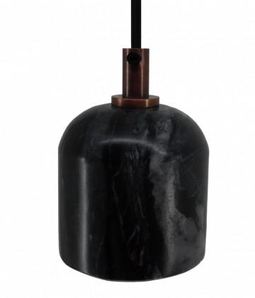 Lustra din fier galvanizat/marmură Sigma IV neagra, un bec