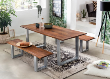 Masa dreptunghiulara cu blat din lemn de salcam Tables & Benches 140x80x77 cm maro deschis/argintiu