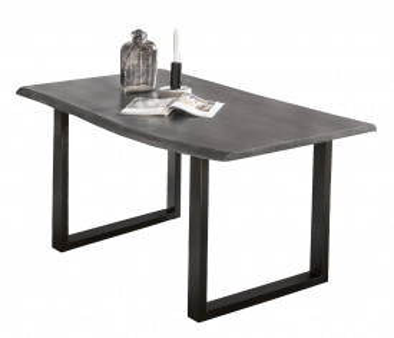 Masa dreptunghiulara cu blat din lemn de salcam Tables & Benches 140x80x77 cm neagra