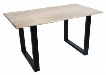 Masa dreptunghiulara cu blat din lemn de salcam Tables & Benches 140x80x77 cm maro deschis/negru