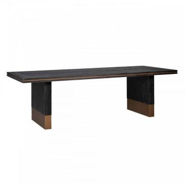 Masa dreptunghiulara cu blat din lemn de stejar Hunter 78 x 190 x 100 cm neagra/maro