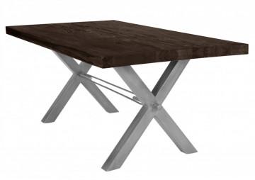 Masa dreptunghiulara cu blat din lemn de stejar Tables & Benches 200 x 100 x 76 cm gri carbon/argintiu
