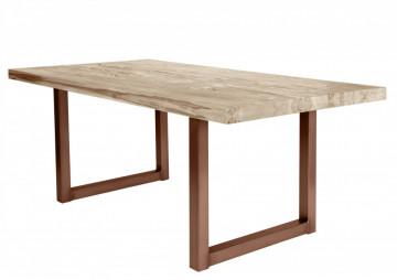 Masa dreptunghiulara cu blat din lemn de stejar Tables & Benches 200 x 100 x 76 cm maro deschis/maro inchis