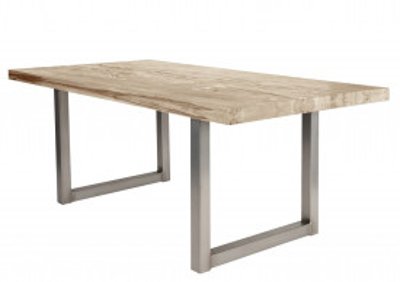 Masa dreptunghiulara cu blat din lemn de stejar Tables & Benches 200 x 100 x 76 cm maro deschis/argintiu