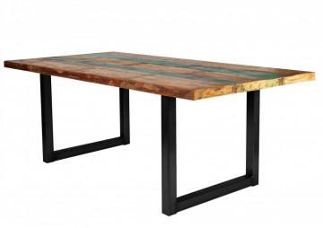 Masa dreptunghiulara cu blat din lemn de tec reciclat Tables & Benches 160 x 85 x 76,5 cm multicolor/neagra