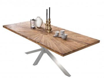 Masa dreptunghiulara cu blat din lemn de tec Tables&Co 160x90 cm maro/argintiu