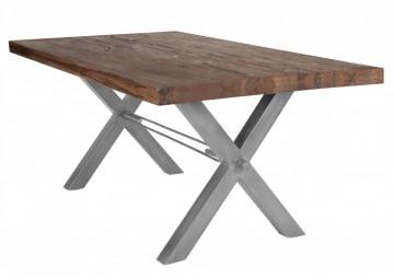 Masa dreptunghiulara din lemn de stejar Tables & Benches 200x100x76 cm maro inchis/argintiu
