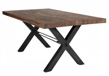 Masa dreptunghiulara din lemn de stejar Tables & Benches 220x100x76 cm maro inchis/negru