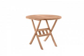 Masa pentru gradina rotunda din lemn de tec pliabila 80x80x75 cm maro