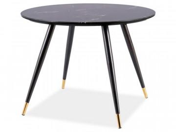 Masa rotunda cu blat din sticla / MDF 100 cm negru / auriu