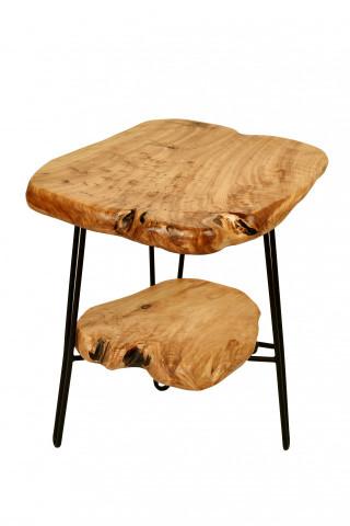 Masuta de cafea cu forma neregulata din cedru cu spatiu de depozitare Woody 45x40x54 cm maro