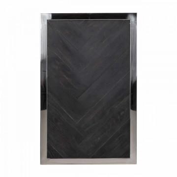 Masuta de cafea dreptunghiulara din stejar si otel Blackbone 60x55x35 cm argintiu/negru