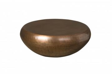 Masuta de cafea in forma de toba din metal 100x100x36 cm alama
