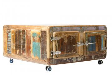 Masuta de cafea patrata din lemn cu spatiu de depozitare Fridge 90x90x40 cm multicolora