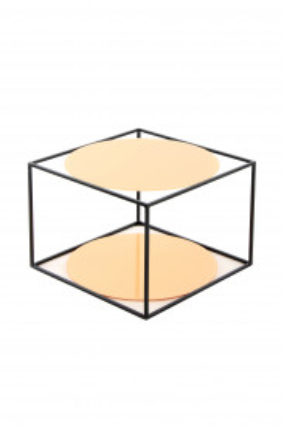 Masuta de cafea patrata din sticla cu spatiu de depozitare Cody 50x50x36 cm portocaliu/negru