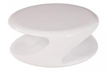 Masuta de cafea rotunda din fibra de sticla cu spatiu de depozitare 83x76x33 cm alba