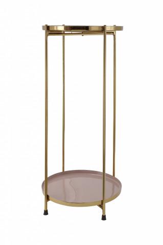 Masuta de cafea rotunda din fier 25x25x60 bej / auriu