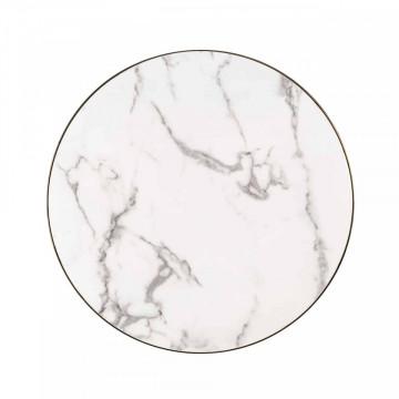 Masuta de cafea rotunda din marmură si otel Odin 41x80x80 cm alb/negru