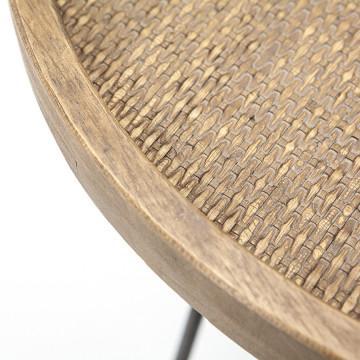 Masuta de cafea rotunda din metal Drax 60x60x35 cm maro deschis